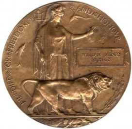 WW1-17-8 Death Plaque or death penny of William Henry Hughes
