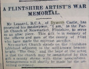 north wales chronicle and advertiser for the principality - painting donated as war memorial reduced