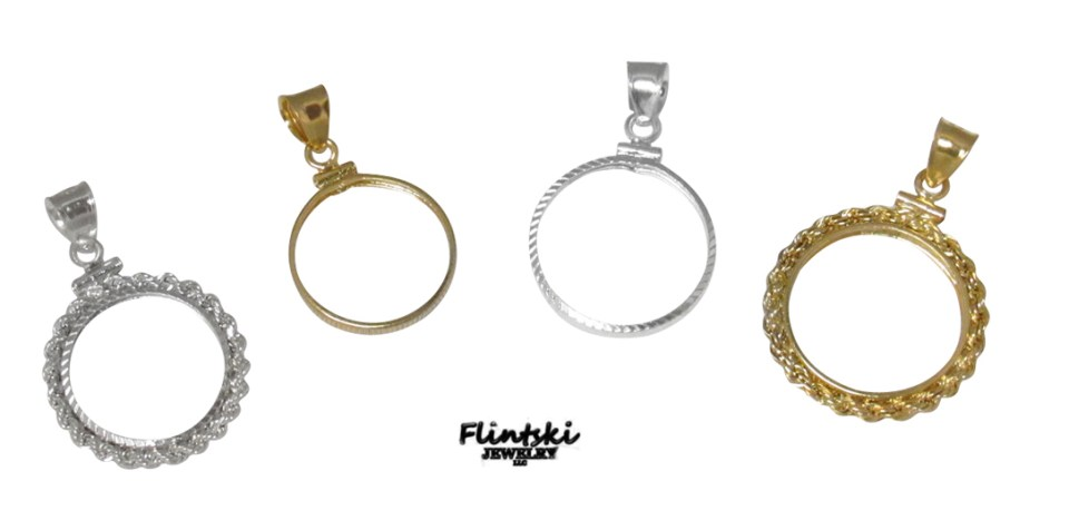 Gold and Silver Coin Bezel Pendants
