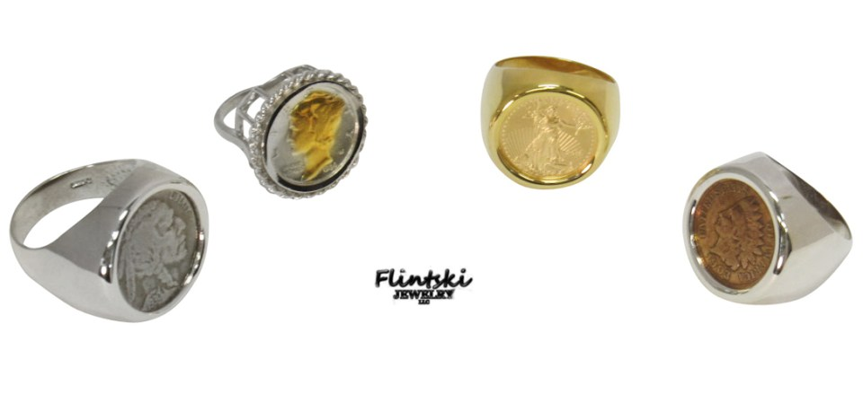 Gold and Silver Coin Rings
