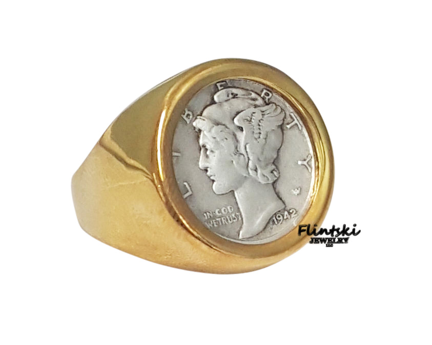 Mercury Dime Coin Ring 24k Gold Plated