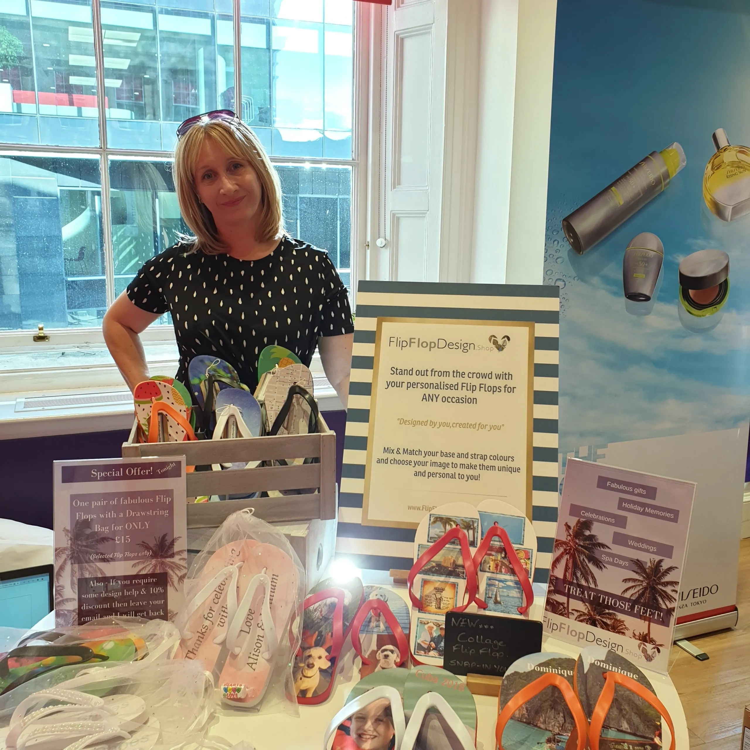 A flip Flop stall held for the Virgin Money Lounge