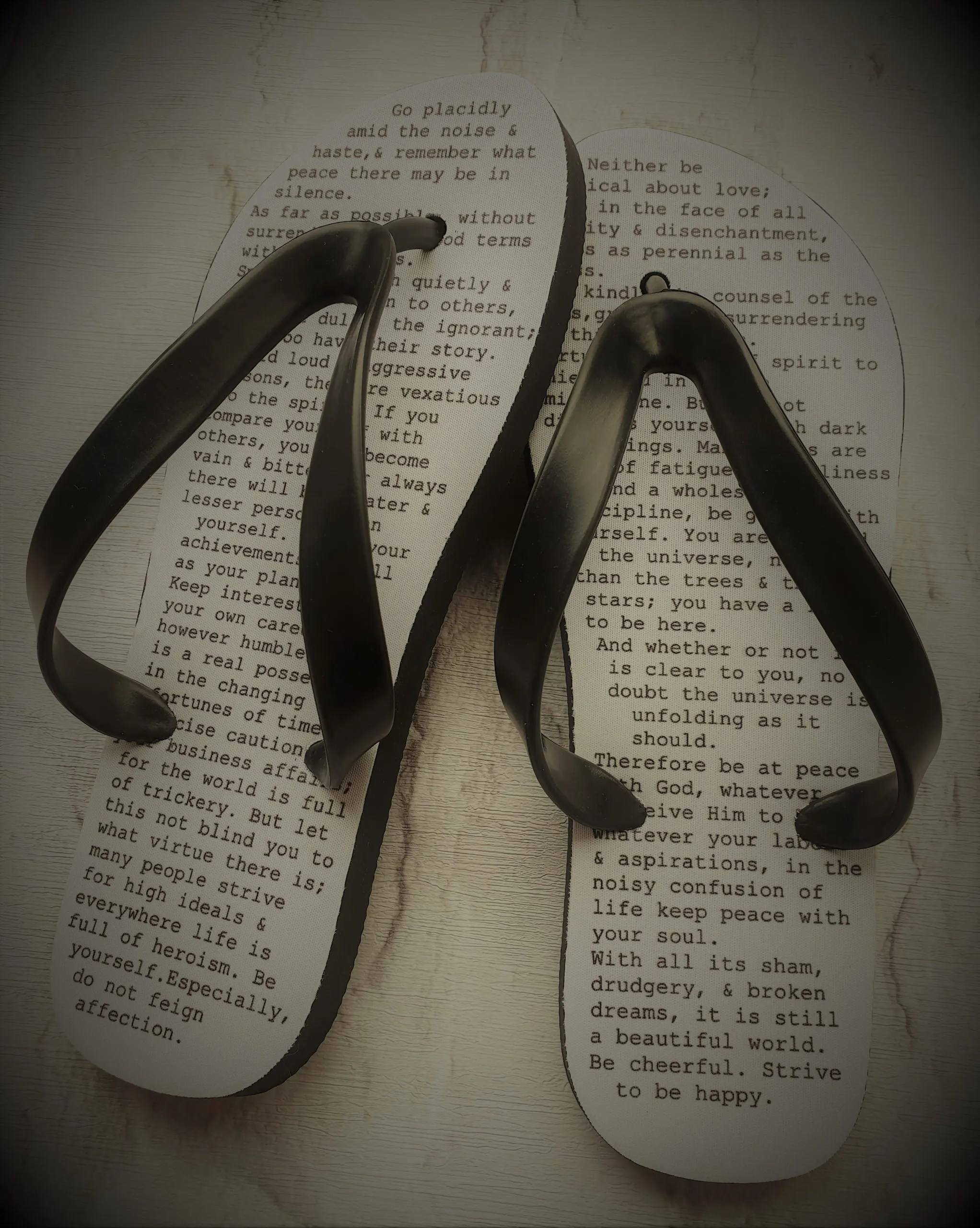 Flip Flops with a poem written on them