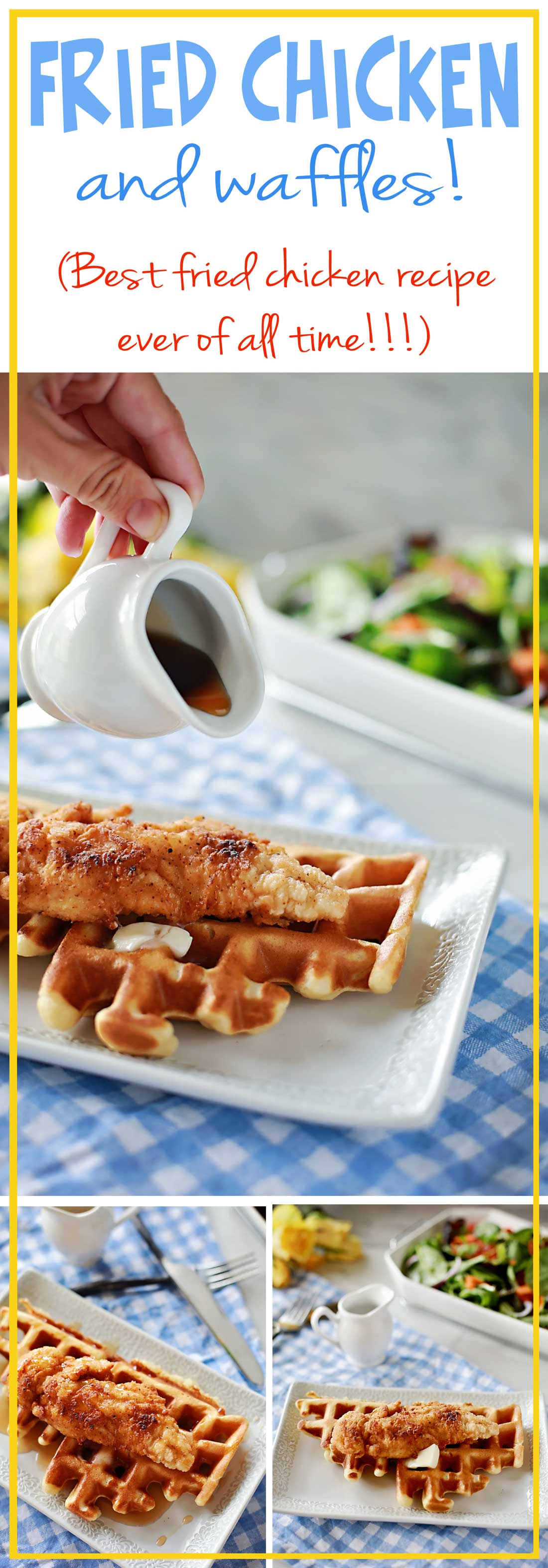 CHICKEN AND WAFFLES!!!!! Both of these recipes were AMAZING!!!! Fried chicken recipe by Flirting with Flavor.