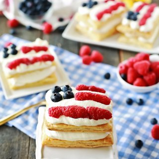 American Flag Raspberry Lemon Napoleon easy recipe by Flirting with Flavor