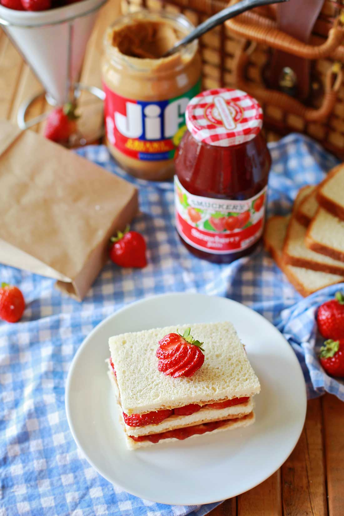 The ultimate PB&J sandwich! Super yummy peanut and jelly sandwich recipe by Flirting with Flavor.