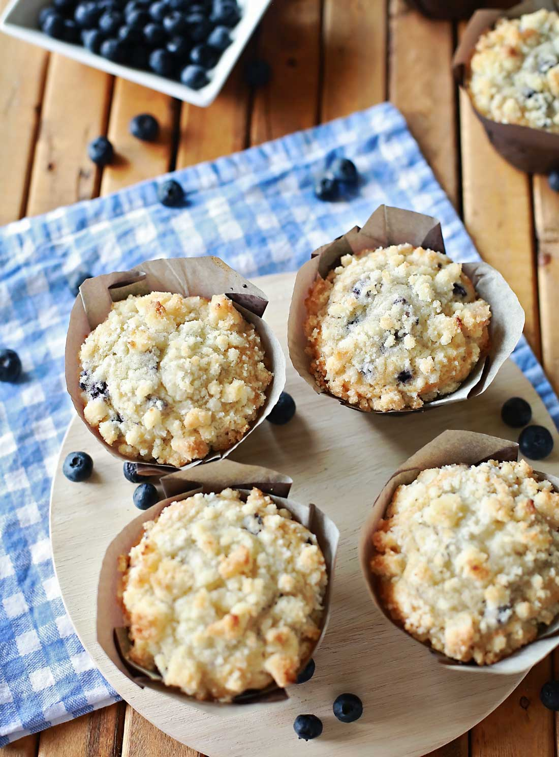 Blueberry Muffins with Cream Cheese and Streusel by Flirting with Flavor