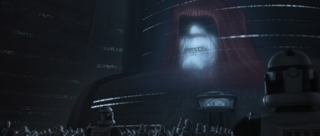 The clone army watching a hologram of the newly-christened Emperor Palpatine as he addresses the galaxy