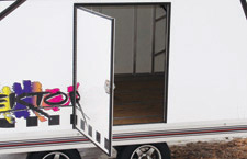 Side access door on Pro-Tecktor trailer.