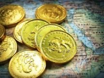 gold coins and map