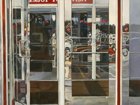 Mall Doors, 1999, Tobin Sprout, American b. 1955, 36 x 35 inches, oil on canvas, $8500 This painting is a one of a kind in the Superchrome series - it contains a rare ghosted image of the painter's wife and young son exiting the door.