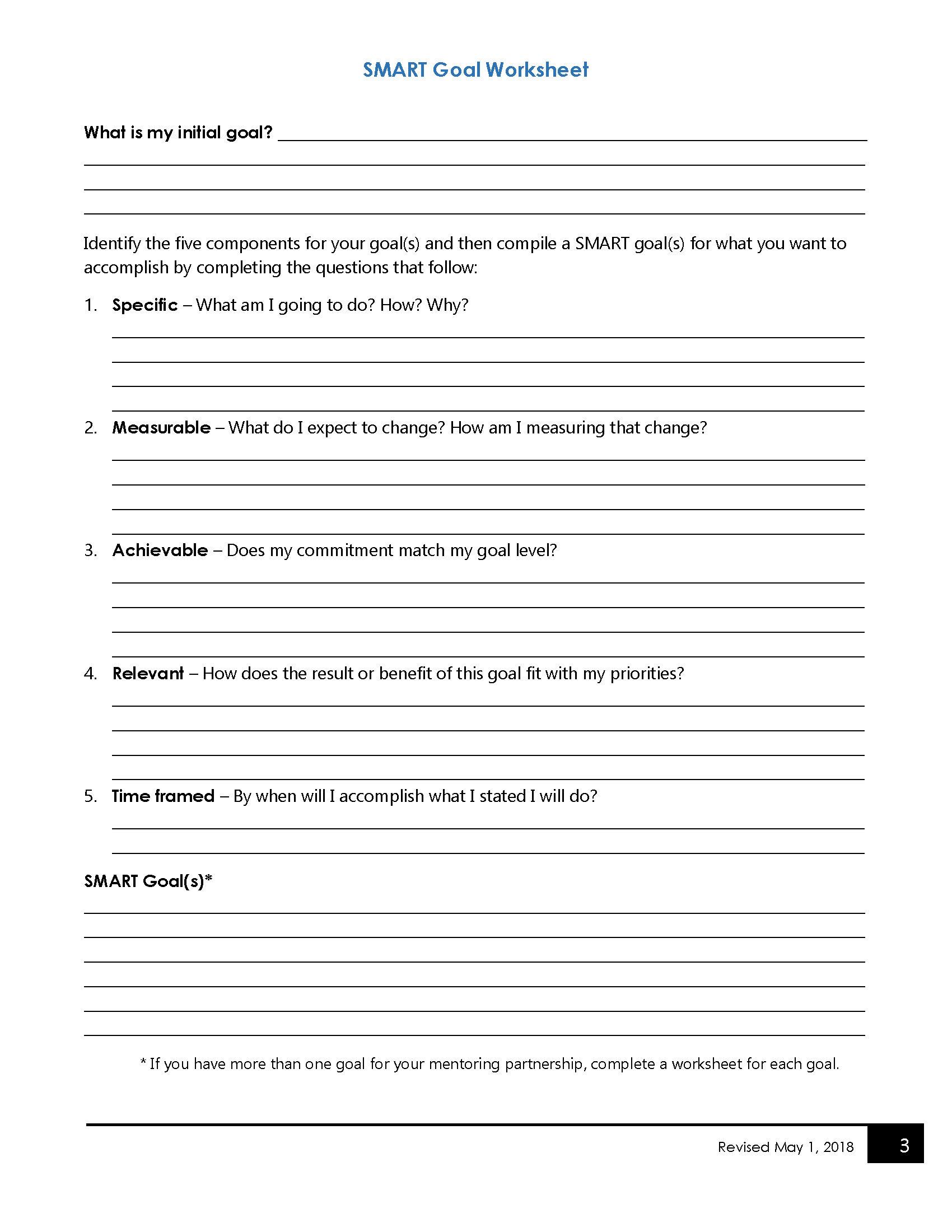Worksheet For Youth Mentoring