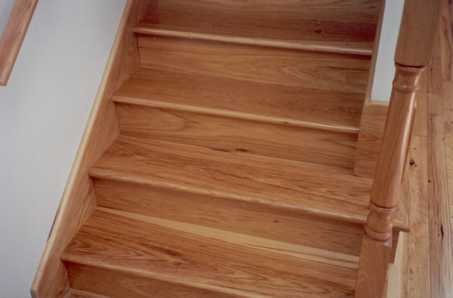 Hickory Stair Treads Risers Prefinished And Unfinished Buy Online | Wood Treads And Risers | Step | Coretec Plus | Light Oak | Remodel | Custom