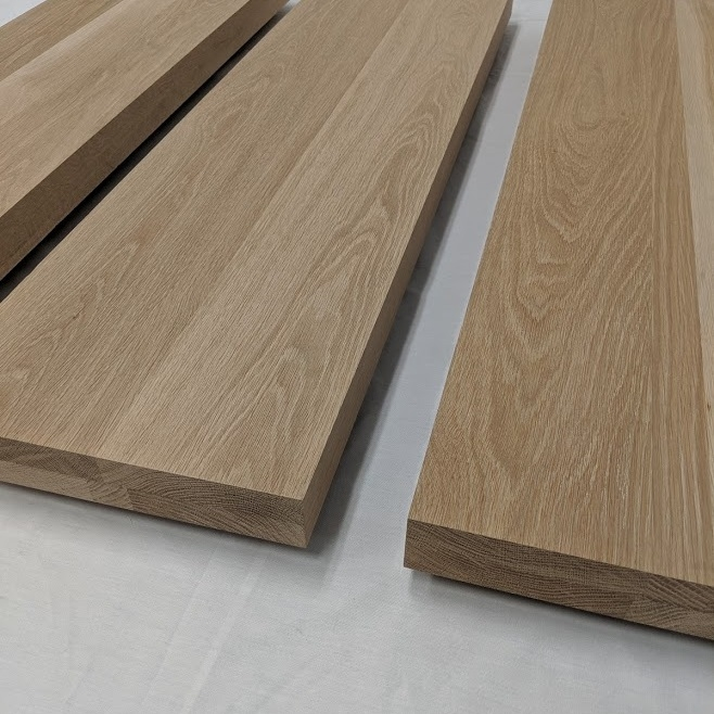 2 Inch Thick White Oak Stair Treads Extra Thick Solid Floating Steps | White Oak Stair Treads Near Me | Hardwood Flooring | Quarter Sawn | Lowes | Wood | Staircase Railings