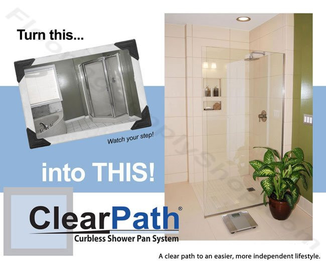 ClearPath shower system, Curbless Shower Pan, handicap shower pan, ready to tile shower pan, tile ready shower pan, tile redi