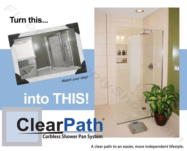 clearpath shower system curbless shower pan handicap shower pan ready to tile shower