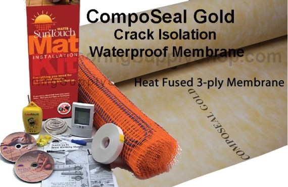 Heat Fused, floor heating underlayment, cork insulation, heating insulation,  Composeal Gold, Crack Isolation, composeal blue, Pan Liner, sheet membrane, waterproofing membrane