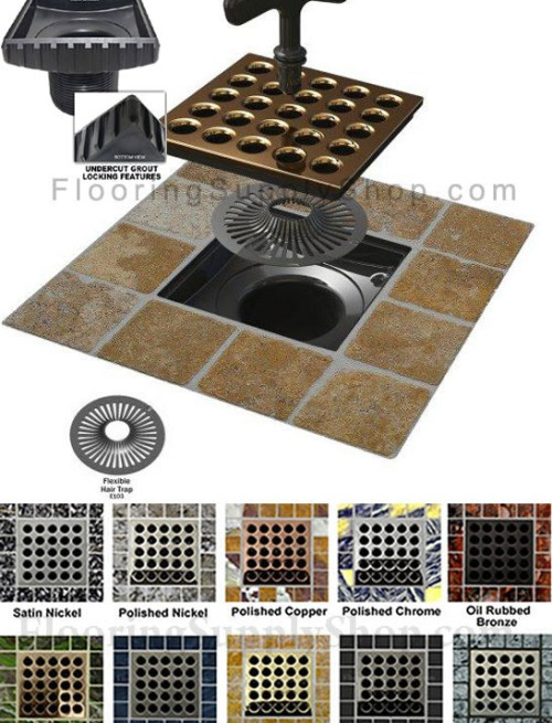 Ebbe Square shower drain cover, Ebbe shower drain, colors shower drain cover, Shower construction, residential shower drain, light commercial shower drain, drain grate, drain strainer, screw less drain grate