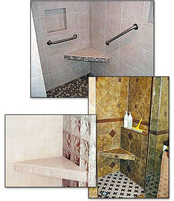 corner shower shelves, shower shelves, shower recessed shelves, tile ready shower shelf