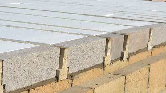 Installed ThermaFloor or EPS Flooring With Light Concrete Beams