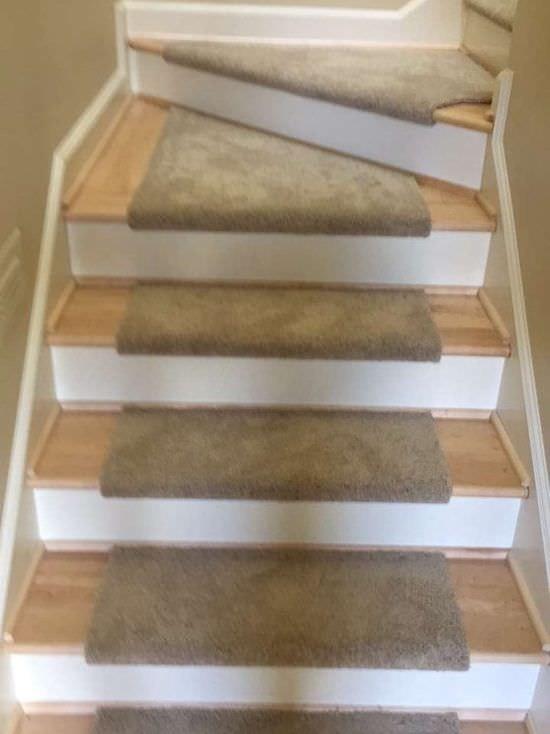 Carpet Custom Stair Treads The Floor Store   Custom Carpet Stair Treads   Bullnose Carpet   Oak Valley   Dog Assist   Braided Rug   Anti Slip