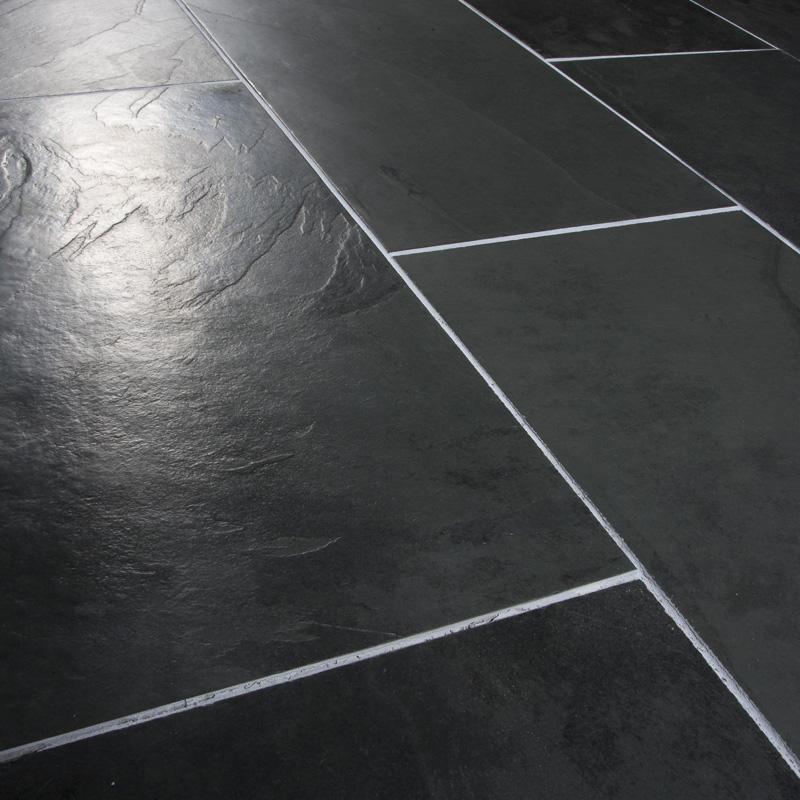black brazilian slate brushed tiles and