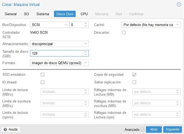 Crear máquina virtual Proxmox 5