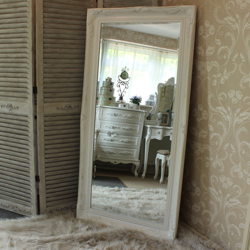Extra Large Vintage White Wall Mirror Flora Furniture