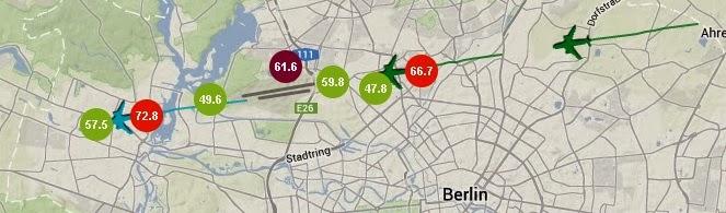 Fluglärm für Fortgeschrittene: Grüne und rote Punkte