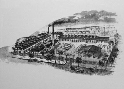 Stuhlrohrfabrik von Fritz Heyn um 1900