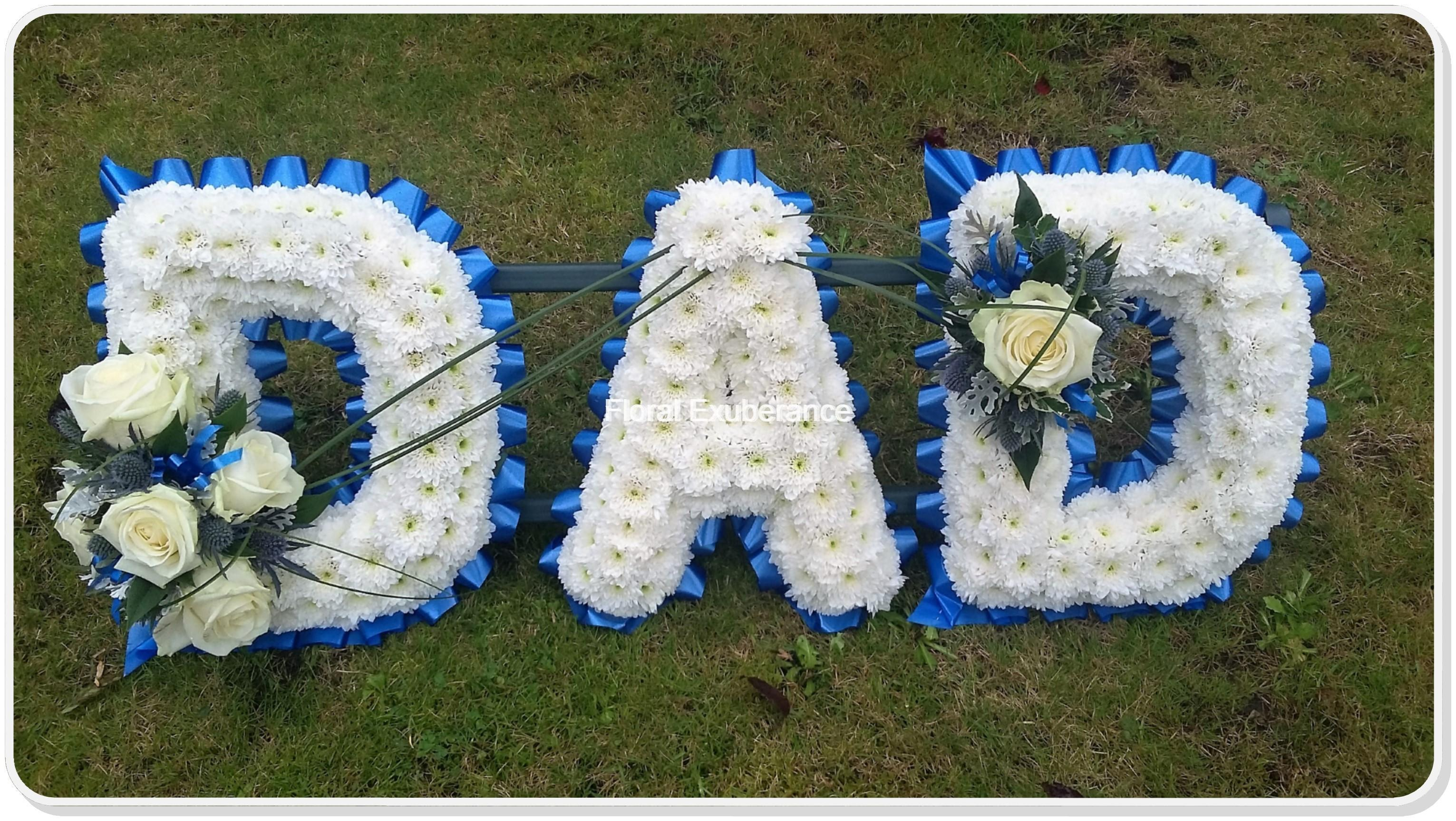 Dad funeral flower letters wreath floral exuberance dad funeral flower letters wreath izmirmasajfo Image collections