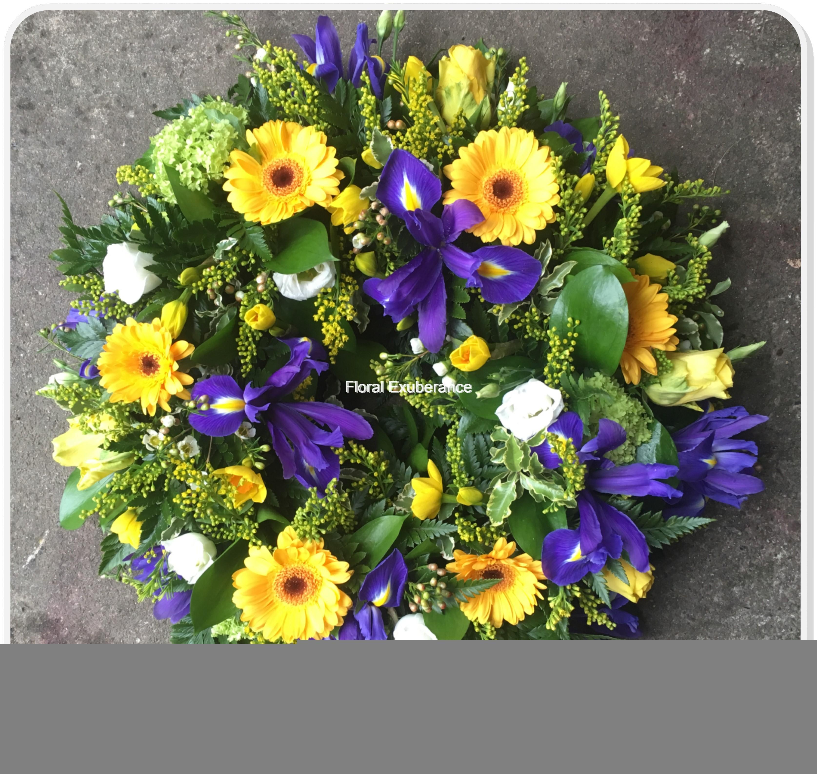 Yellow and blue funeral wreath floral exuberance yellow and blue funeral wreath izmirmasajfo