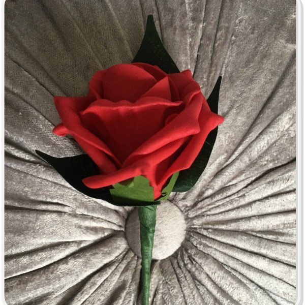artificial red rose buttonhole