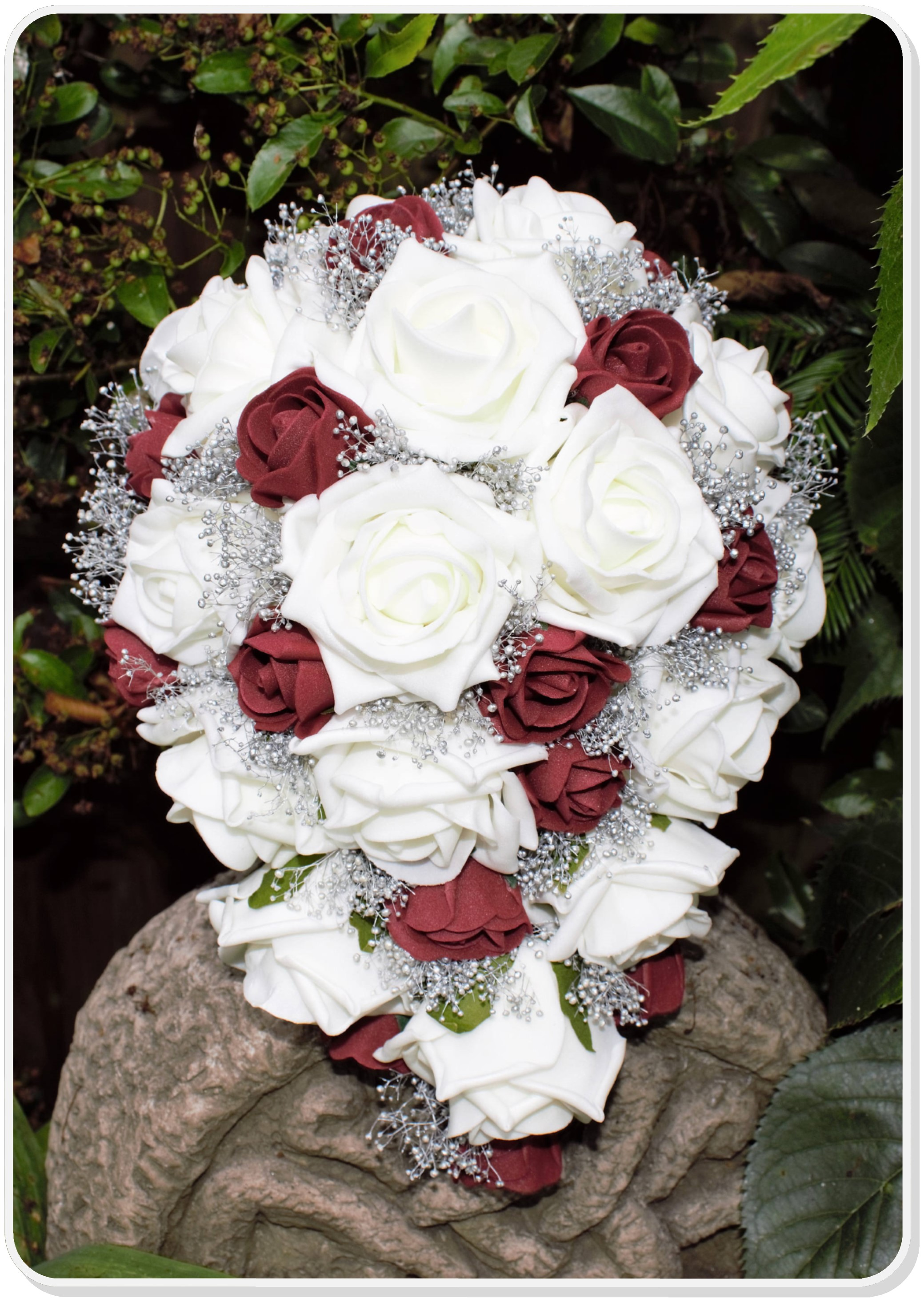 Artificial Ivory Burgandy And Silver Bridal Cascade Bouquet