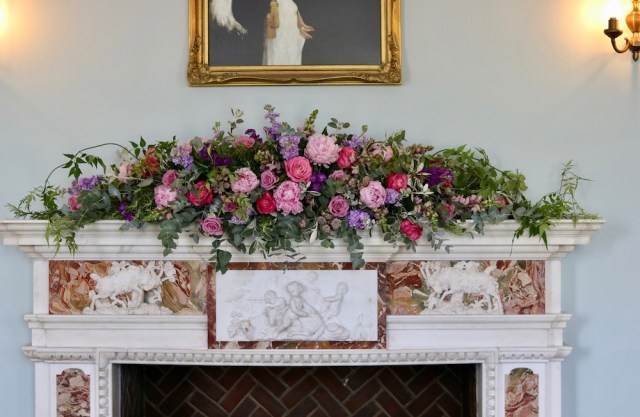 Mantlepiece flowers for a birthday party at Eltham Lodge