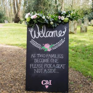 Rise Hall Wedding Chalk board