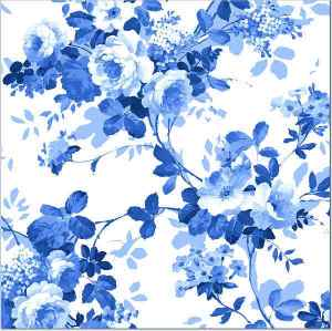 Blue Roses pattern on a white background square ceramic wall tile, made by Floral Tiles Ltd