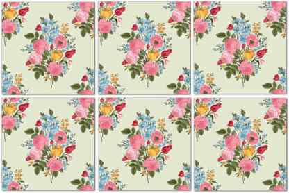 Floral wall tiles, vintage flower spray design, pattern example, Product Code Q7