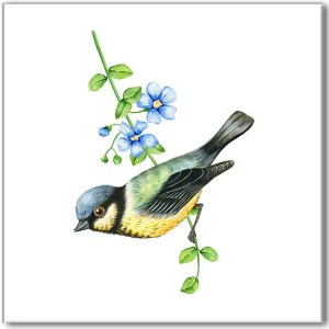 Shabby chic wall tile, blue tit bird perched on forget-me-not flower branch on white square background
