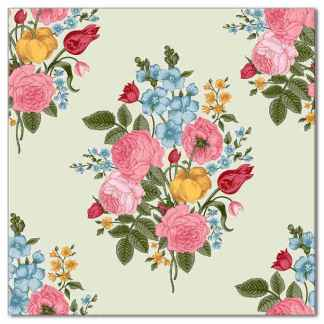 Floral wall tile, vintage flower spray design, Product Code Q7