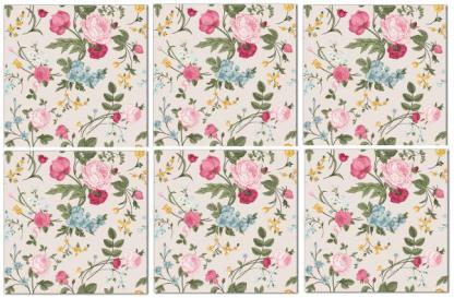 Wall tile with flowers design, vintage roses and peonies, pattern example, Product Code Q6