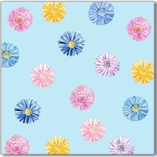 Daisy flowers on a blue background square ceramic wall tile