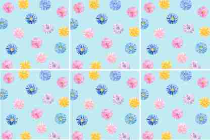 Daisies on a blue background square ceramic wall tile