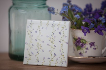 Blue Forget Me Nots Pattern Ceramic Wall Tile from FloralTiles.co.uk