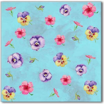 Blue Pansies Ceramic Wall Tile Pattern Example