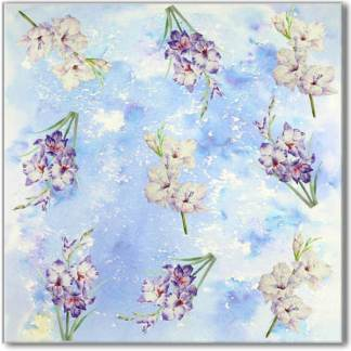 Blue Phlox Floral Pattern Ceramic Wall Tile