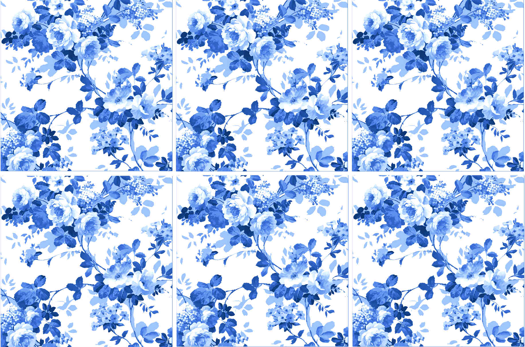 Blue Roses Pattern Ceramic Wall Tile