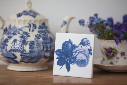Blue Roses ceramic wall tile from FloralTiles.co.uk