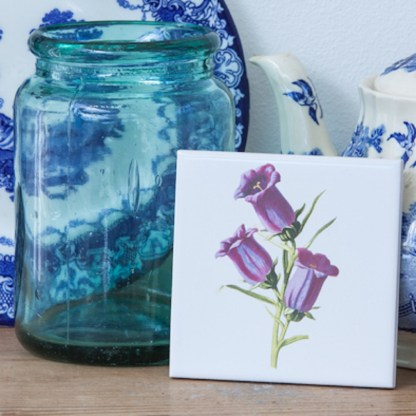 Vintage Style Bluebell Flowers Ceramic Wall Tile From FloralTiles.co.uk
