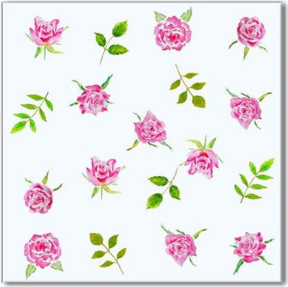 Pink Roses on a pale blue background, floral pattern ceramic wall tile